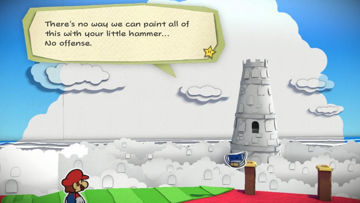 Where'd all the color go?! Paper Mario: Color Splash screen shot.
