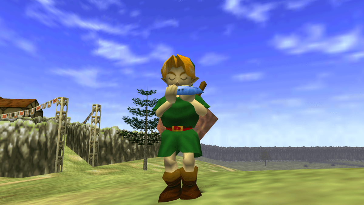 Link playing his Ocarina. From The Legend of Zelda: Ocarina of Time. Image from bleedingcool.net