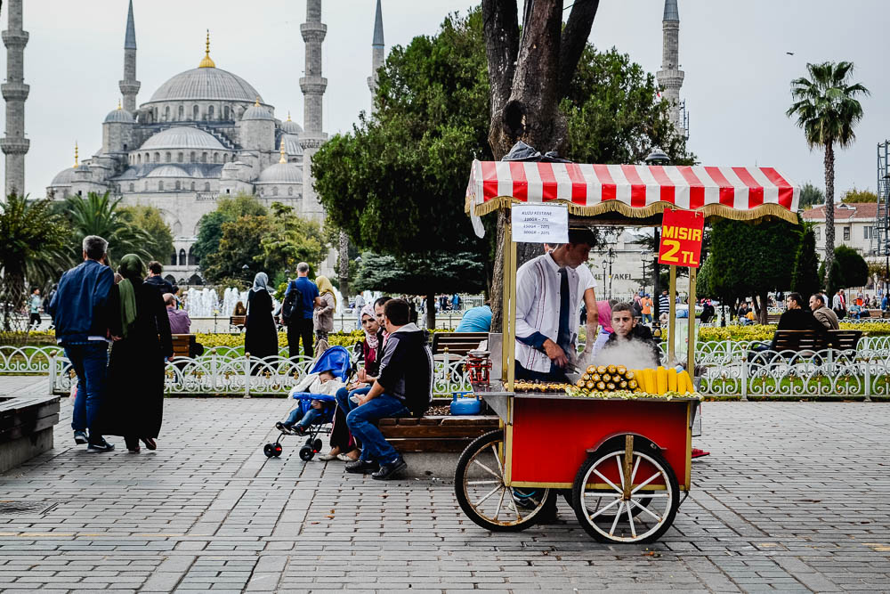 A street food cart in front of the Blue Mosque in Istanbul Turkey