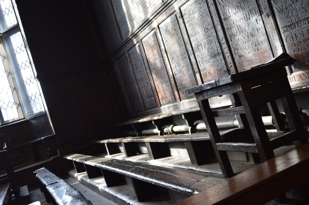 Wooden benches in Flitwick's classroom, Harrow School
