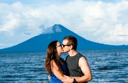kissing couple on beach