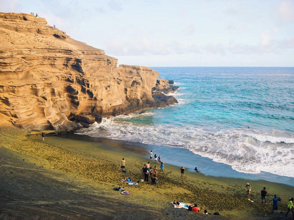 beautiful cliffside beach view of sea in Hawaii