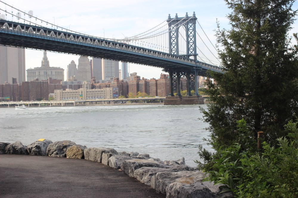 view of bridge from riverbank with skyscrapers behind