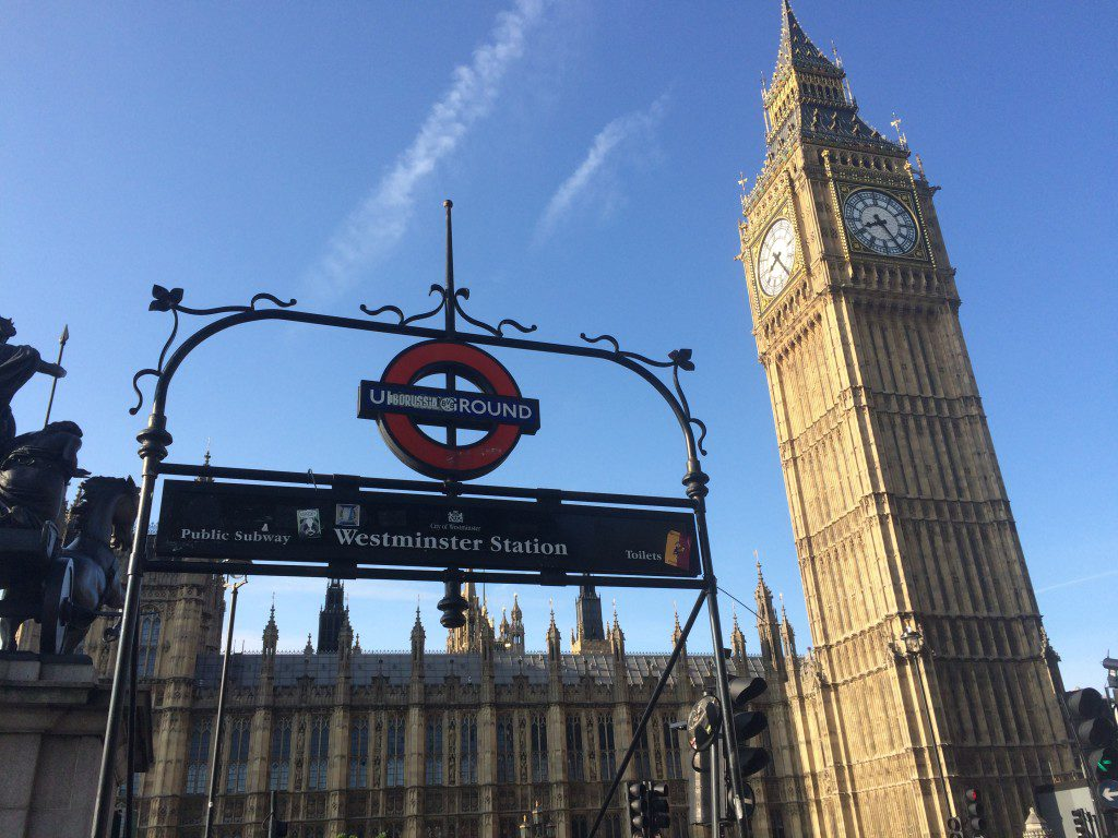 view of big ben behind westminster tube entrance