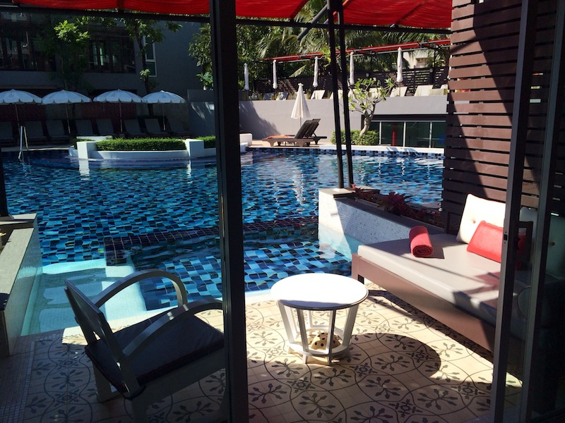Private plunge pool and patio at Red Ginger Chic Resort