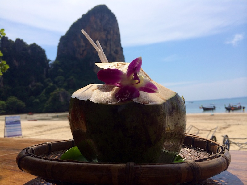 Fresh coconut on the beach at Railay cost 85 baht (approx £1.60)