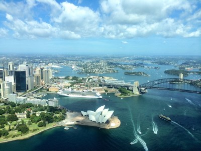 Flying over Sydney Harbour