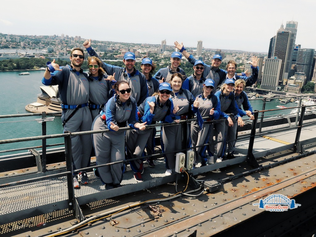 Group shot from the top of BridgeClimb Sydney