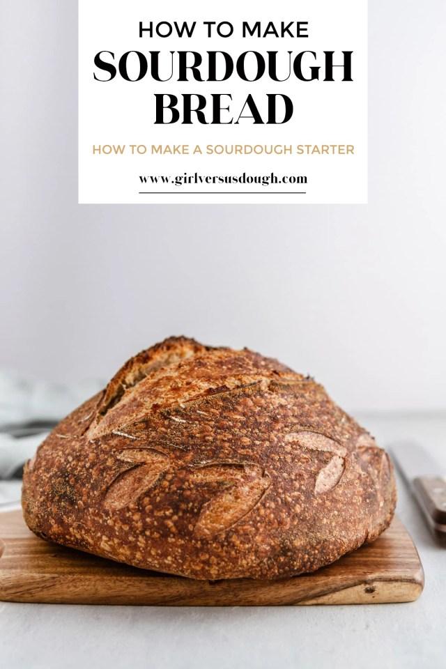 a loaf of sourdough bread on a cutting board