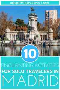 If you're planning travel alone in Madrid, then this is the guide for you! Check out 10 unique and amazingly fun things to do in Madrid as a solo traveler. Between the Royal Palace, the Prado Museum, Plaza Mayor, and Retiro Park, Madrid is the perfect place for a solo traveler. #Madrid #Spaintravel #wanderlust #travelguide #Europetravel #solotravel