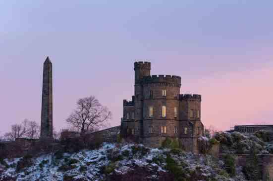 A gorgeous winter sunrise in Edinburgh, Scotland.