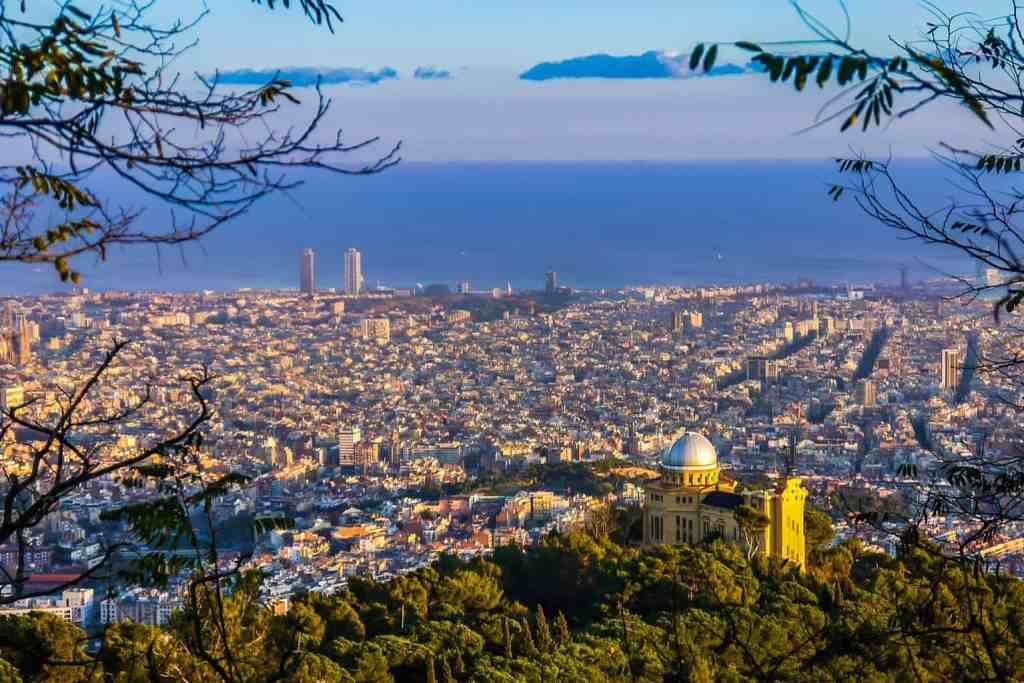 A beautiful view of the Barcelona skyline.