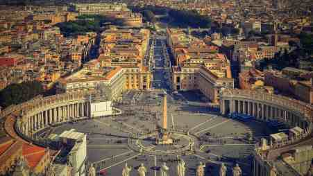 A beautiful view over St. Peter's Square in Rome, Italy.