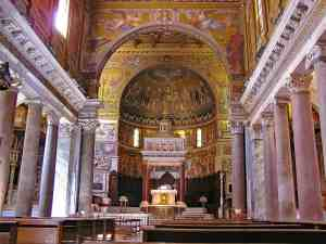 The exquisite interiors of the beautiful Santa Maria in Trastevere church in Rome.