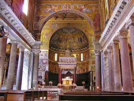 The exquisite interiors of the beautiful Santa Maria in Trastevere church in Rome.