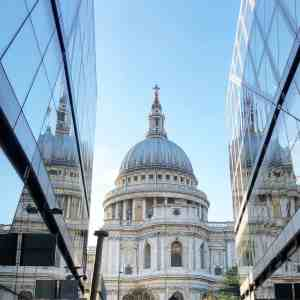 A perfect shot of St. Paul's Cathedral form the ground floor of New Change Mall.