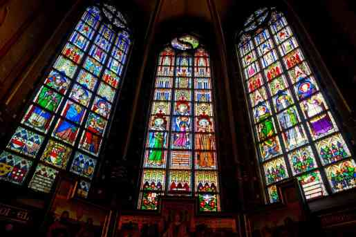 Some of the beautiful stained glass windows that you'll find at the Cathedral of Our Lady in Antwerp, Belgium.