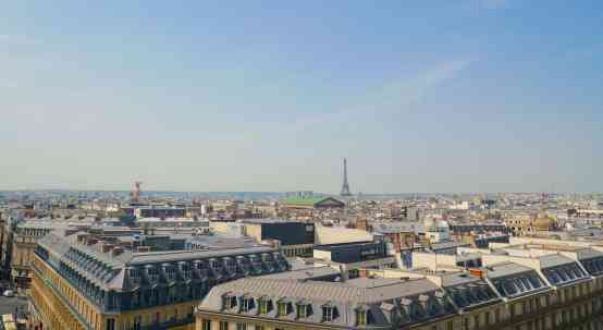 Galleries Lafayette has one of the best views of the Eiffel Tower in Paris.
