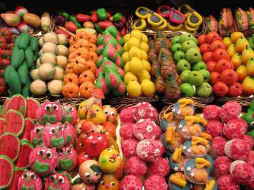 Some of the delicious food for sale at La Boqueria on La Rambla.
