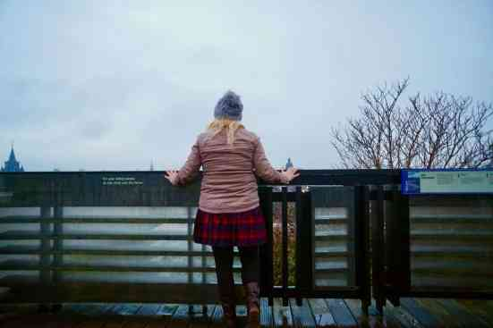 Admiring the cloudy view from atop the National Museum of Scotland.