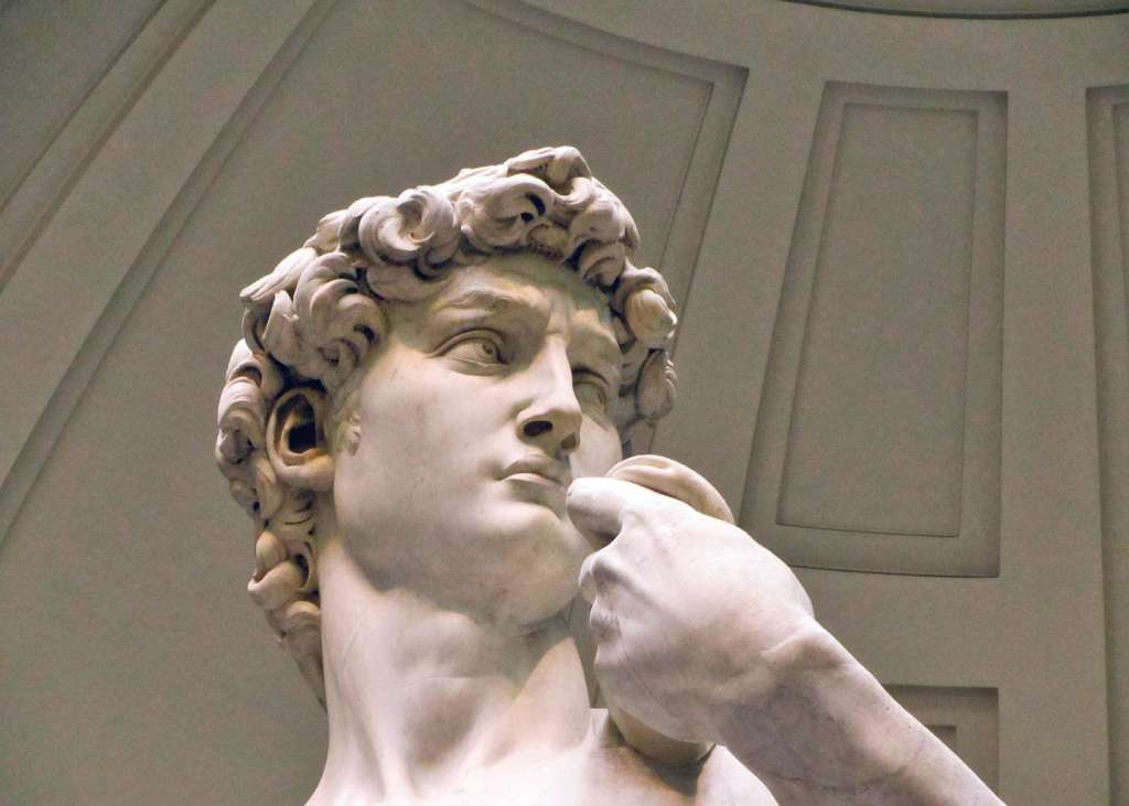 The iconic Statue of David in the Galleria dell'Accademia.