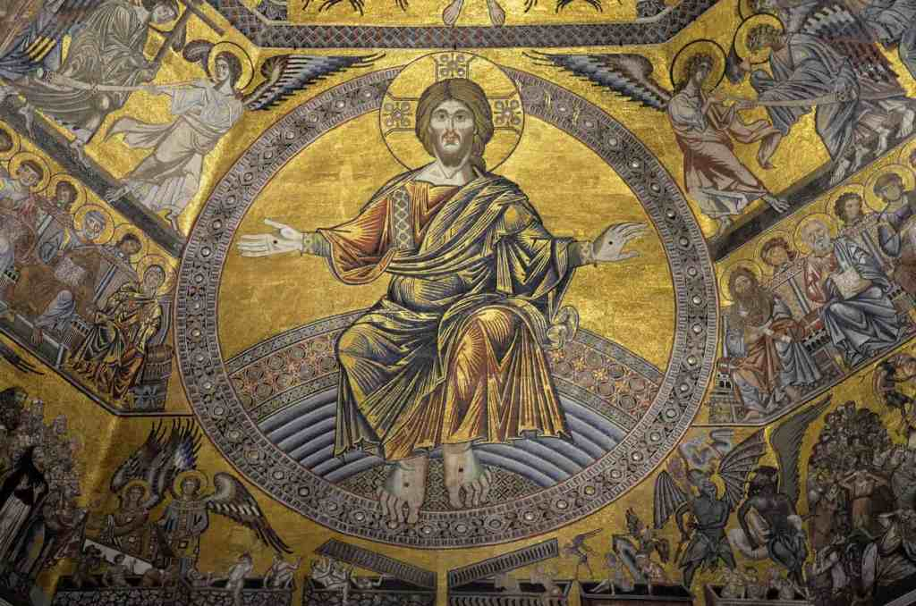 The beautiful, mosaic ceiling of the Baptistery in Florence.