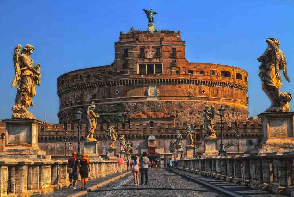 A view of Castel Sant' Angelo from across the Tiber River.
