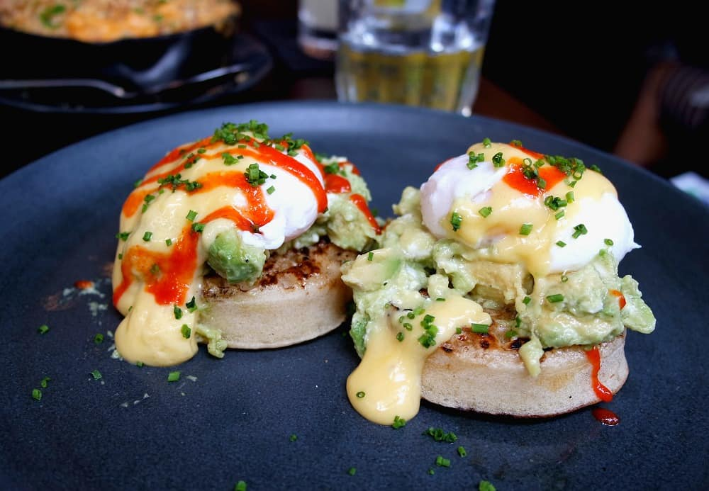 Delicious Avocado Crumpets from the legendary Dirty Bones in London.