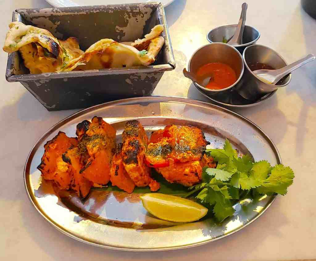 The beautifully delicious food that you'll find at Dishoom in Shoreditch.