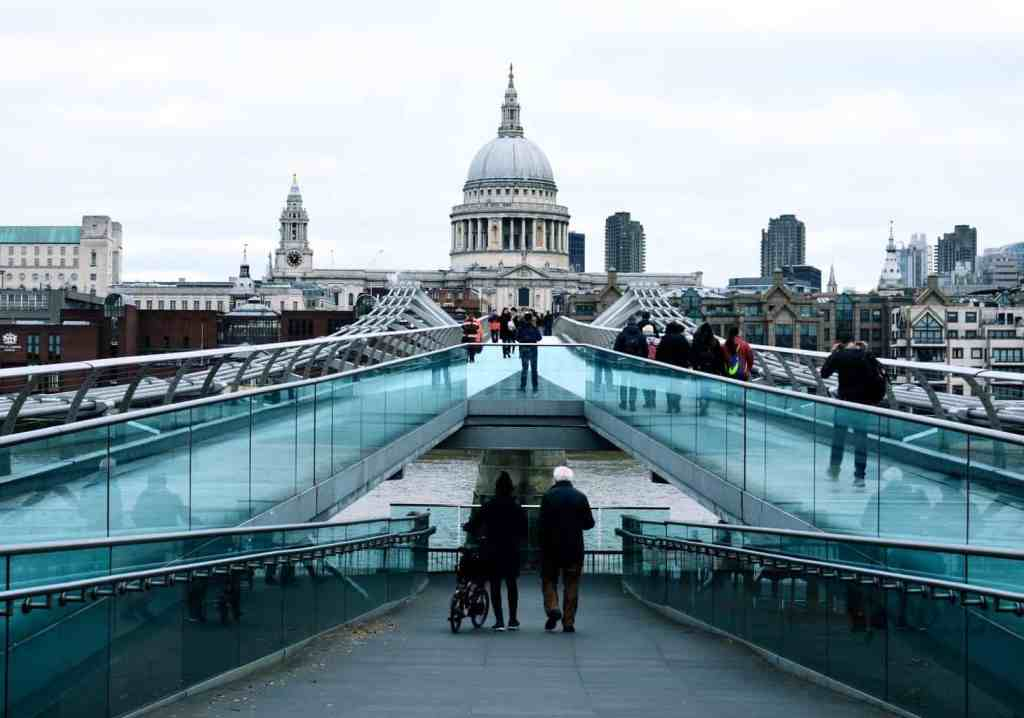 The view of St. Paul's Cathedral as you walk across Millennium Bridge.