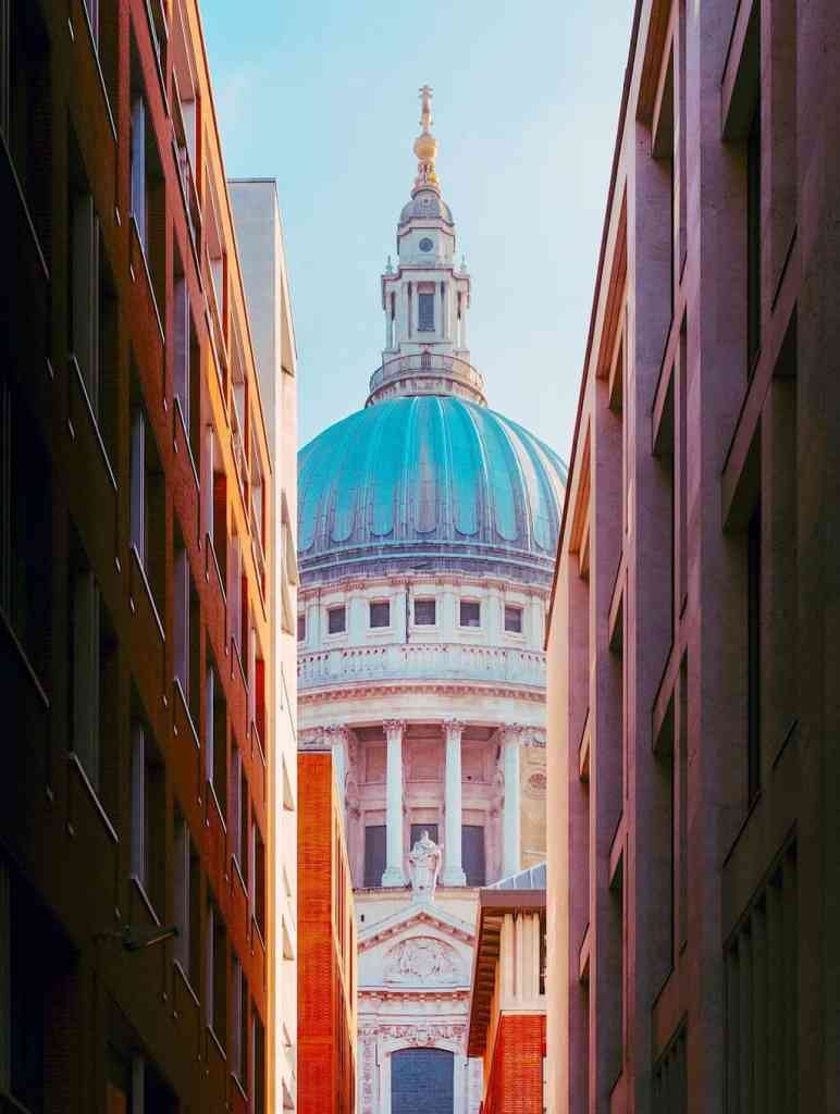 A peek-a-boo shot of St. Paul's Cathedral from Canon Alley.