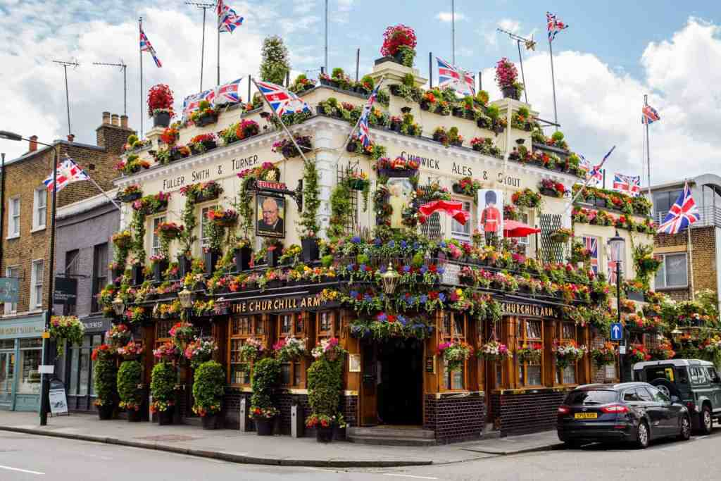 The over the top, botanical beauty of Churchill Arms Pub.