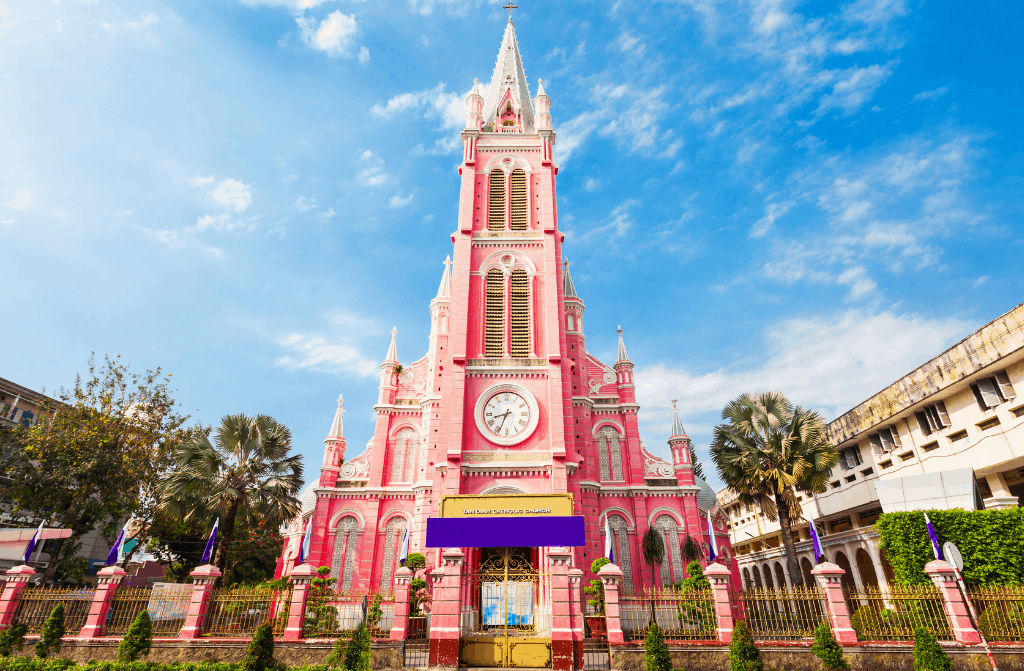 The Pepto Bismal pink awesomeness of Tan Dinh Church.