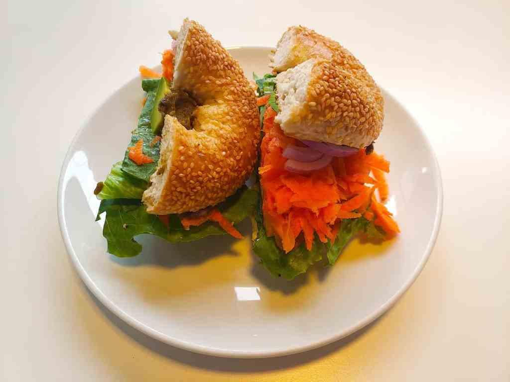 """The aptly named, """"Veggie Monger"""" sandwich from BKK Bagel Bakery in Bangkok."""