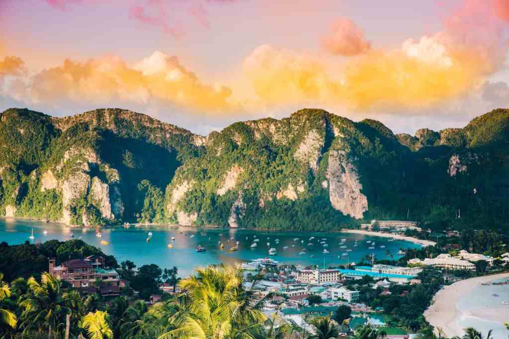 An amazing, sunset view of the Phi Phi Islands in Thailand.