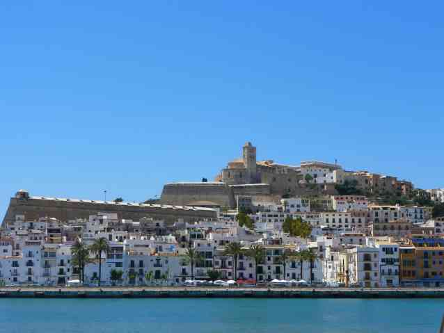 A beautiful view of Ibiza, the notorious party island that is part of Spain's Balearic islands in the Mediterranean Sea.