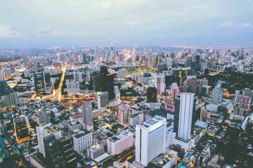 A beautiful, aerial view of Bangkok's iconic skyline.