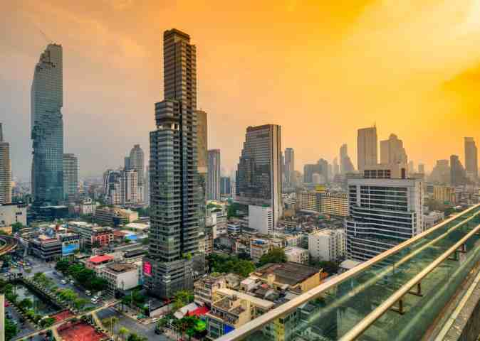A beautiful, panoramic view of Bangkok at sunset, from SkyBar.
