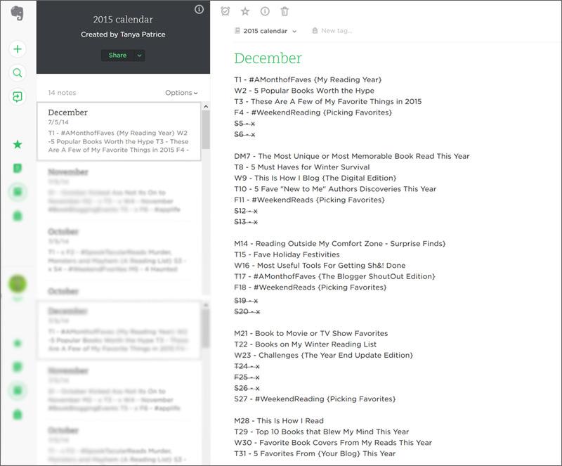 Evernote Blog Calendar