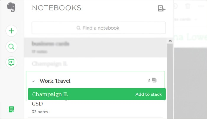 create evernote notebook stack