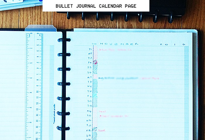 Bullet Journal Calendar Page