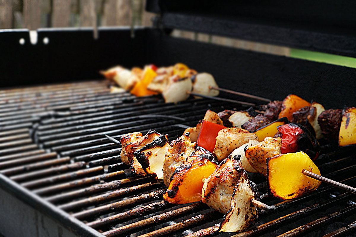 Grilled Chicken and Steak Kabobs