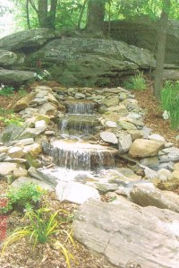 Past Work a Natural Stonework Waterfall Feature surrounded by native plants.