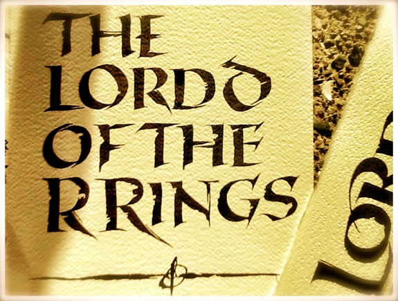 The touch of the hand, crafting  The Lord of the Rings logo drafts