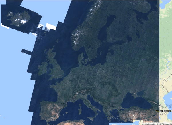 Cloud-free Sentinel-2 mosaic of Europe