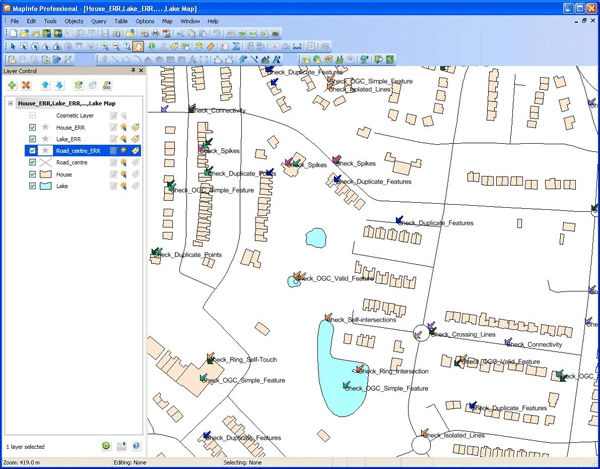 Validation Report loaded into local GIS. All non-conforming features in the data are identified with coloured arrows to pinpoint where the error is located. The rule that the feature has broken is also displayed next to the arrow.