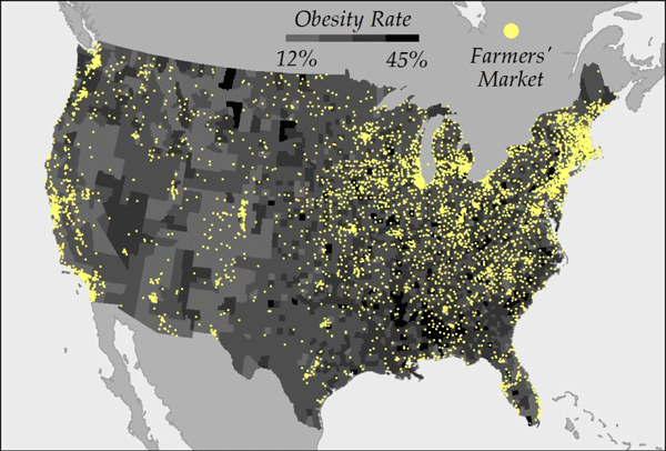 Map of Obesity Rates as Compared to Farmers' Market Locations