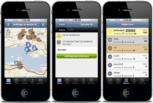 Screenshots from the Kort OpenStreetMap app.