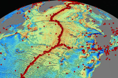 New seafloor map: view of the Atlantic showing earthquakes (red dots), seafloor spreading ridges, and faults.