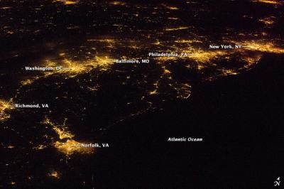 Nasa image showing the Eastern Seaboard at night. One can see New York City, Philadelphia, the Washington Metropolitan Area all in the foreground, while Chicago, Cleveland, Detroit, Niagara and Toronto can be seen in the background.